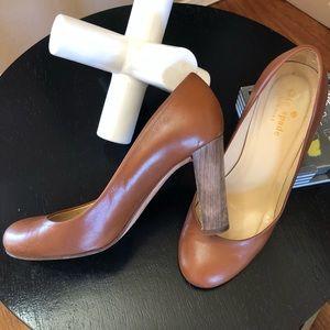 Kate Spade Cognac Round Toe Leather Pumps